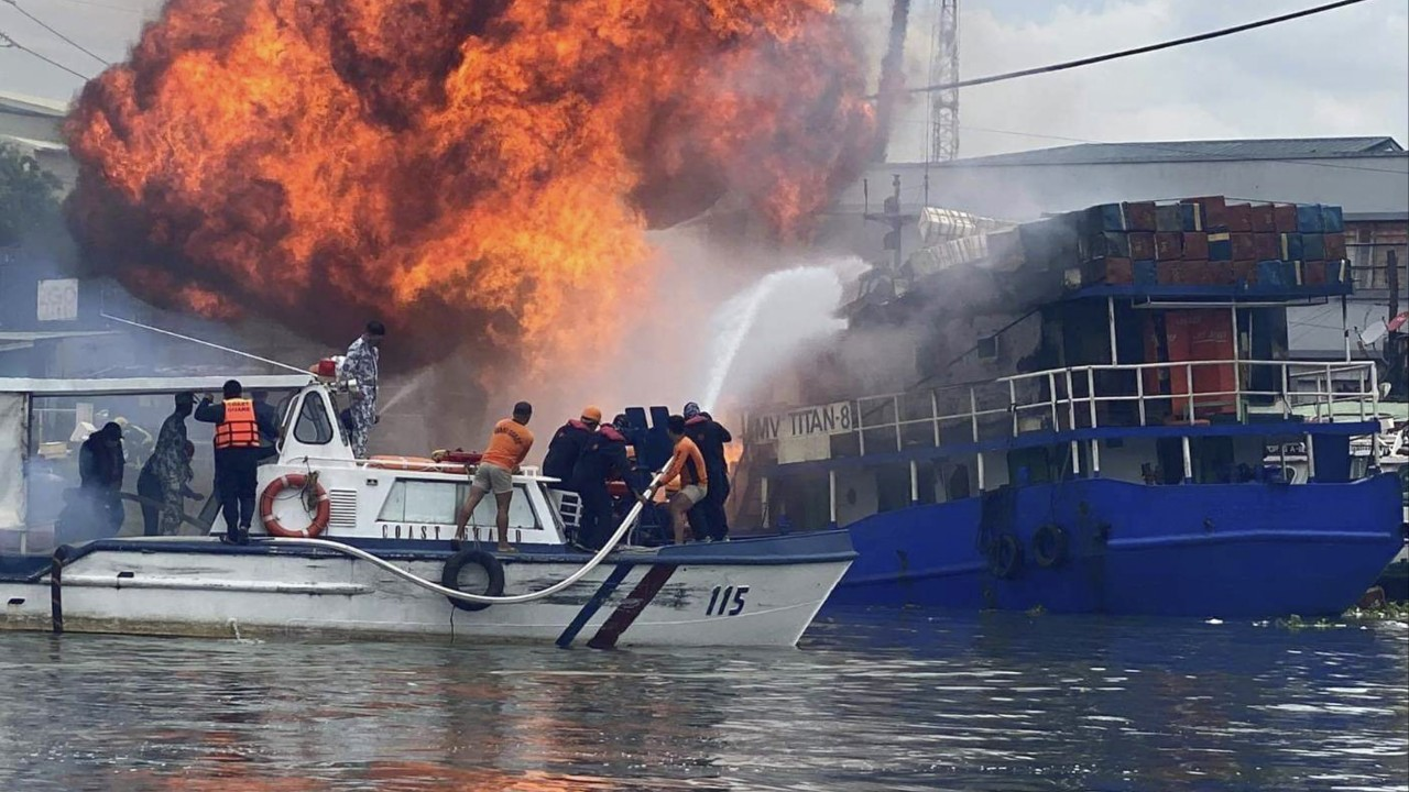 Cargo ship explosion in Philippines injures at least six, causes fire in Manila slum