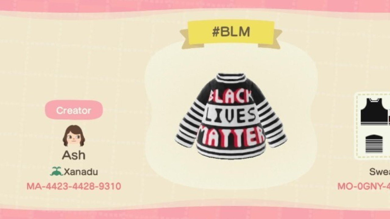Black Lives Matter movement goes virtual in 'Animal Crossing' with custom shirts and signs