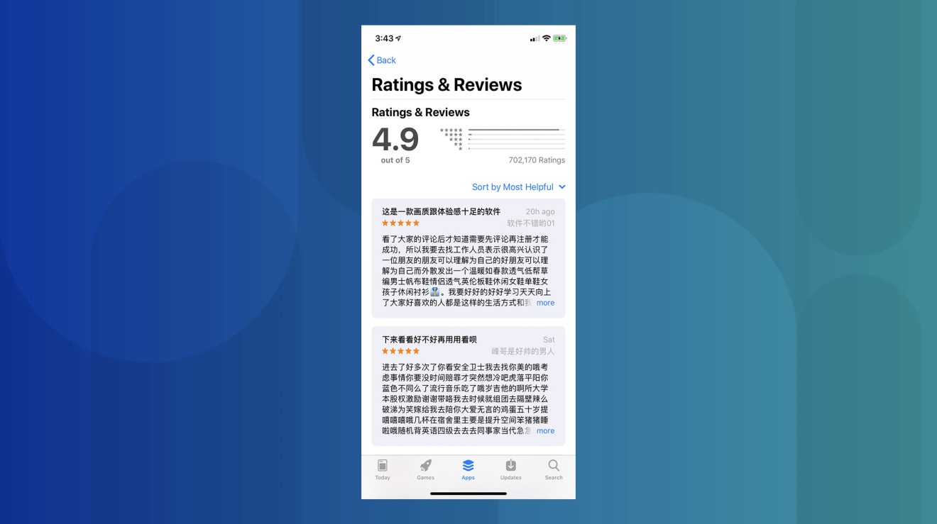 Apple called out for fake reviews on iOS App Store by Chinese state