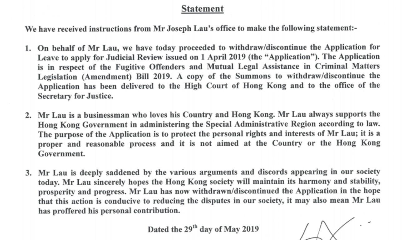 Fugitive tycoon Joseph Lau withdraws legal challenge against
