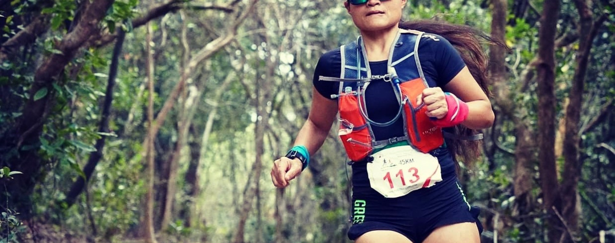 Dolly Vargas Salles running the MSIG Braemar Hill. This weekend, she is running 75km and 45km on consecutive days. Photo: The Green Race