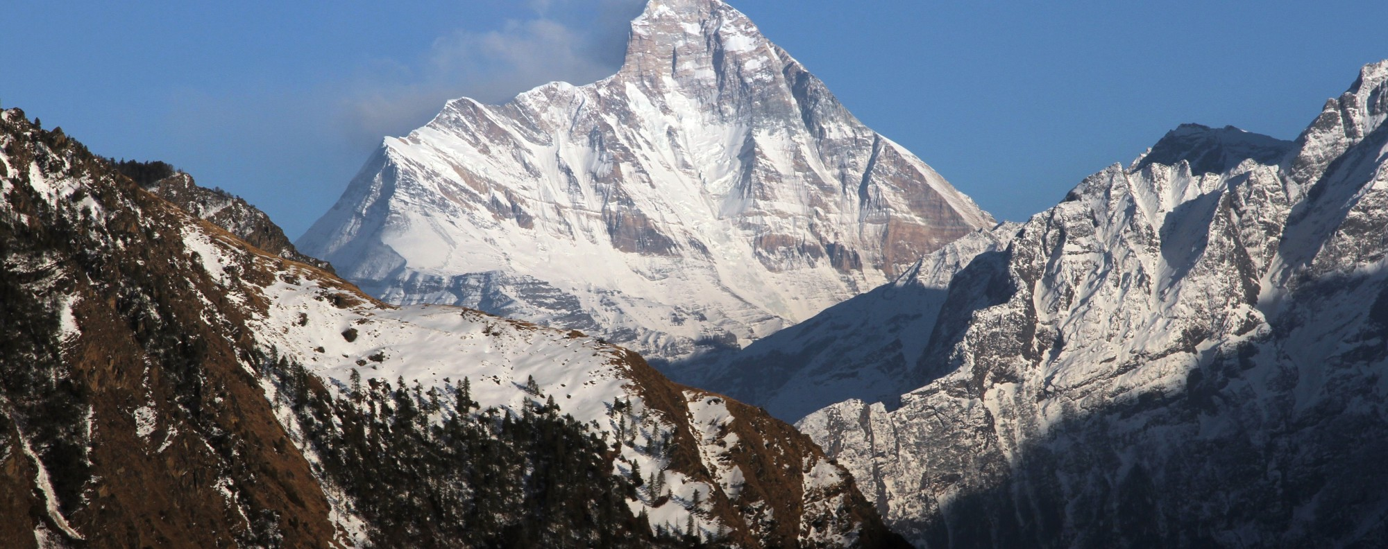 Nanda Devi mountain is seen from Auli town, where eight mountaineers are still missing. Photo: Reuters