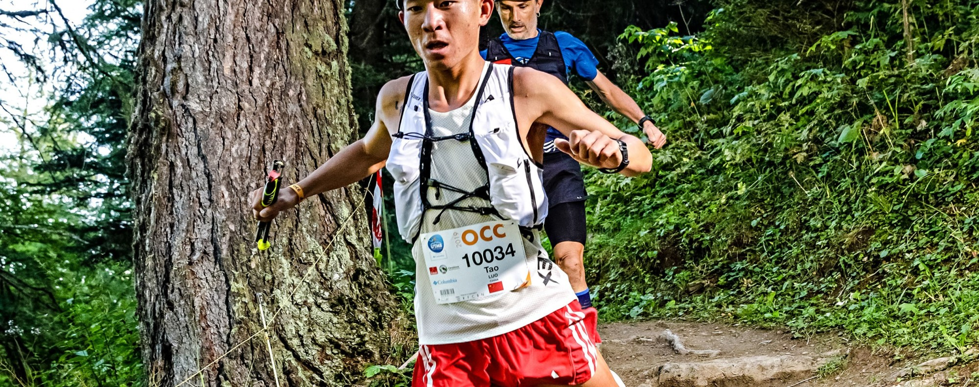 Luo Tao, third at the OCC, UTMB, impresses spectators with his fast downhills - training stability is key to a fast descent. Photo: UTMB