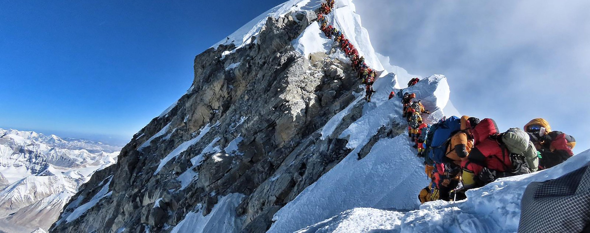 A photo of a traffic jam on Everest went viral and has sparked change in the way the Nepalese government plans to manage the mountain. Photo: AFP/@Nimsdai Project Possible