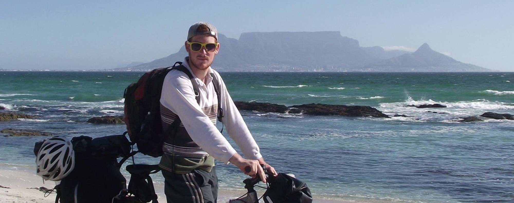 Rory Mackay setting off on his cycling adventure in Africa.