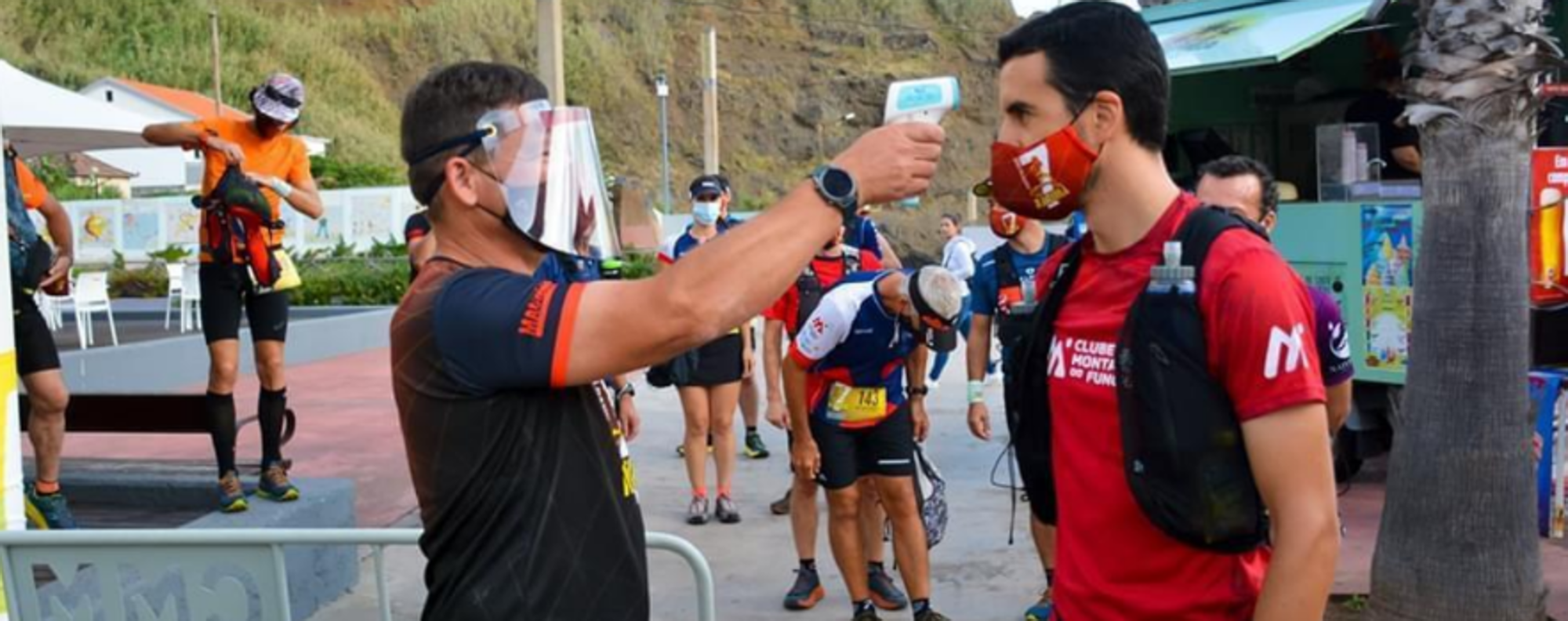 The new normal in trail running involves temperature checks and social distancing rules. Photo: Aurelio Davide
