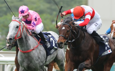 Danon Smash is punched out to victory by Englishman Ryan Moore in December's Hong Kong Sprint. Photos: Kenneth Chan