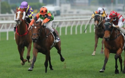 Vincent Ho goes for home on Carroll Street to win at Sha Tin on Saturday. Photos: Kenneth Chan