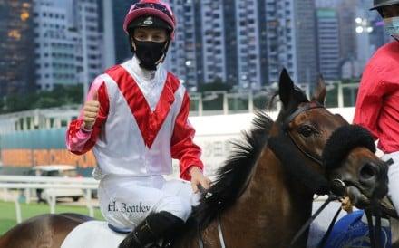 Harry Bentley celebrates after notching his first Hong Kong winner. Photos: Kenneth Chan