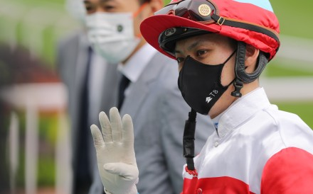 Matthew Chadwick celebrates his 400th winner at Sha Tin on Sunday. Photos: Kenneth Chan