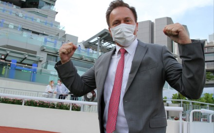 Caspar Fownes celebrates during his five-timer at Sha Tin on Sunday. Photo: Kenneth Chan