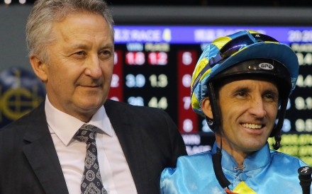 Trainer David Ferraris with jockey Neil Callan after a winner at Happy Valley this season. Photos: Kenneth Chan