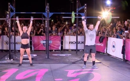 Tia-Clair Toomey (left) and Mat Fraser face-off in Miami.