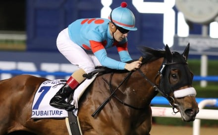 Christophe Lemaire wins the Dubai Turf with Almond Eye at Meydan. Photo: Kenneth Chan