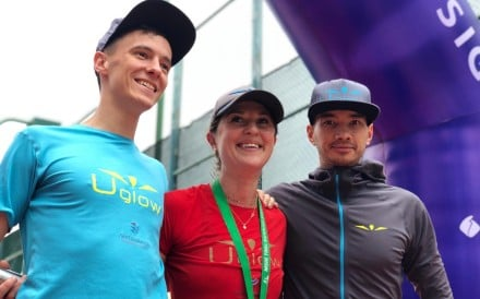 Elsa Jean de Dieu poses with her Uglow teammates after winning The Green Race 18km and 44km on consecutive days, despite a long absence for injury. Photos: Kirk Kenny