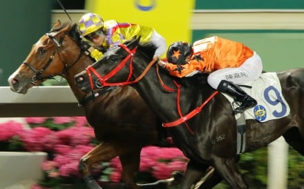 7f9643a7b21 Winner Supreme (left) holds off Simply Big at Sha Tin on Wednesday night.
