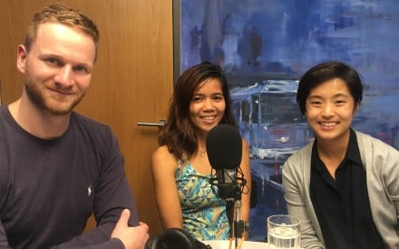Fredelyn Alberto (centre) with Adventure Trail podcast hosts Mark Agnew and Mary Hui.