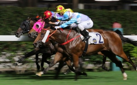 Umberto Rispoli boots home Ruletheroost at Happy Valley on Wednesday night. Photos: Kenneth Chan