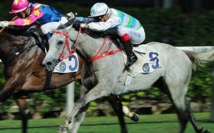 Grant van Niekerk (outside) on The Full Bloom storms home to win in an upset result at Happy Valley on Wednesday night. Photos: Kenneth Chan