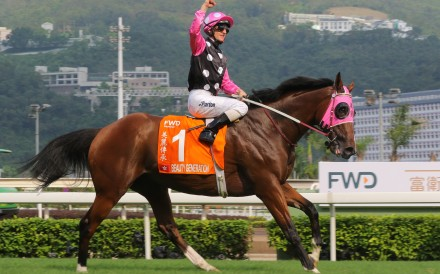 Zac Purton celebrates after Beauty Generation wins the FWD Champions Mile. Photos: Kenneth Chan