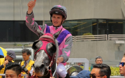 James McDonald shows his delight after winning on Monica. Photos: Kenneth Chan