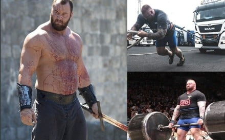 Hafthor Julius Bjornsson in Game of Thrones and showing his feats of strength. Photo: Instagram/HBO
