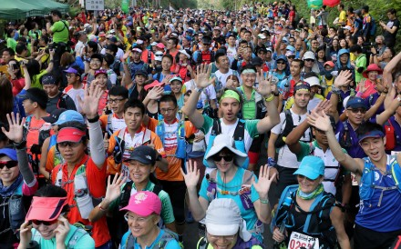 Runners on the start line of the Oxfam Trailwalker – the event is a show case of Hong Kong's diverse, cosmopolitan, running scene. Photo: Dickson Lee