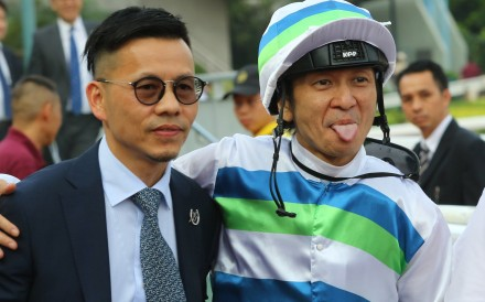 Trainer Frankie Lor (left) with his brother-in-law jockey Peter Ho after combining for a winner 12 months ago at Sha Tin. Photos: Kenneth Chan