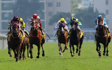 Macau horse Pearl Green (right) battles home for fourth behind winner Good Standing at Sha Tin on Saturday. Photos: Kenneth Chan
