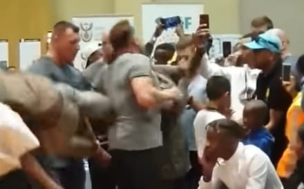 Arnold Schwarzenegger is attacked by a deranged fan in South Africa. Photo: You Tube
