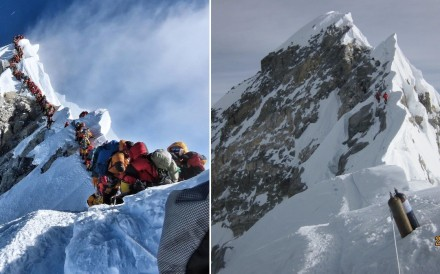 A contrast between the Everest traffic jam in 2019 and Michael Tomordy 's experience on the mountain when he was the last team to reach the summit in 2018. Photo: Project Possible/Handout