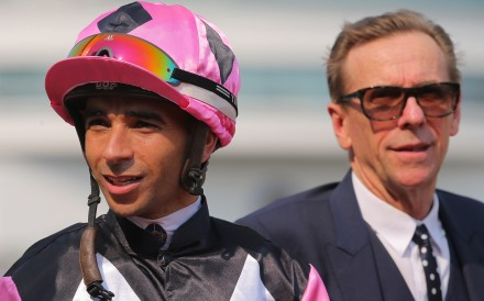 Jockey Joao Moreira with trainer John Size. Photos: Kenneth Chan
