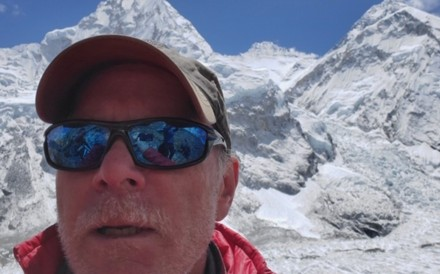 Christopher Kulish beneath Mount Everest. He died soon after getting to the top. Photo: Christopher Kulish/Mark Kulish