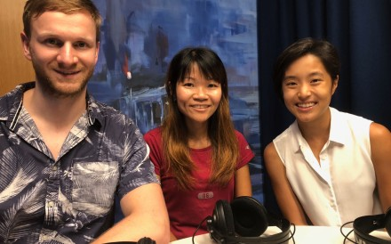 Mark Agnew, Leung Ying-suet and Mary Hui in the studio for the Adventure Trail podcast.