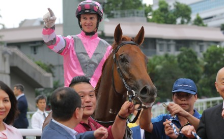 Zac Purton celebrates his win aboard Band Of Brothers at Sha Tin on Sunday, one of six winners. Photos: Kenneth Chan