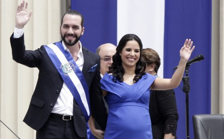 El Salvador's newly sworn-in President Nayib Bukele and his wife Gabriela wave. Photo: AP Photo