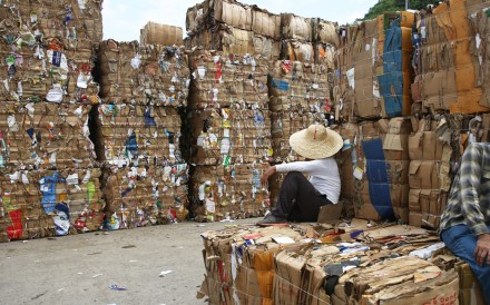 Piles of waste paper sit at the Public Cargo Working Area on Wing Shun Street in Tsuen Wan. Photo: Sam Tsang