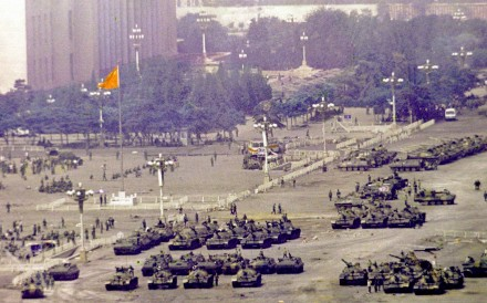The occupied Tiananmen Square as seen from the roof of the Beijing Hotel on June 5, 1989.