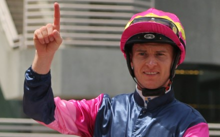Zac Purton celebrates his 1,000th Hong Kong winner. Photos: Kenneth Chan