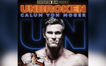 Calum Von Moger stars in Unbroken, the No 1 sports film in the US according to iTunes. Photo: Instagram