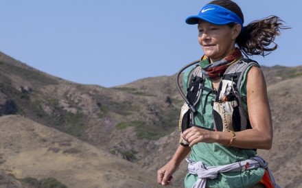 Isabella de la Houssaye running the Kazakhstan ultramarathon. Stage four lung cancer is not stopping her from pursuing her passion. Photos: Action Asia Events