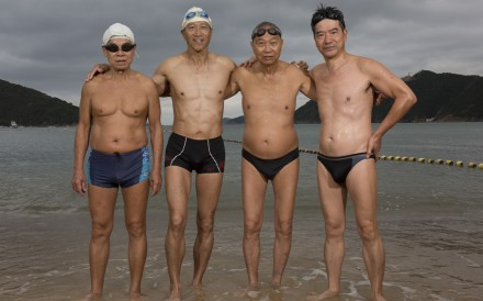 The Big 4, as they call themselves, in Deep Water Bay on the south coast of Hong Kong Island, where they are among dozens who take a daily swim in the sea there, come rain or shine. Some have been doing so for decades. Photo: Saskia Wesseling