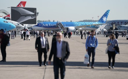 A Boeing 787-9 aircraft operated by Air Tahiti Nui at the Paris Air Show. Photo: Bloomberg