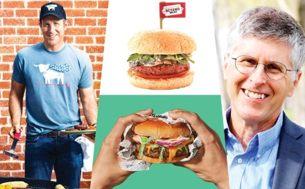 The CEOs of two successful American meat-alternative food companies, Ethan Brown (left) of Beyond Meat, and Patrick O. Brown, of Impossible Foods, who now offer their products in Hong Kong and Singapore as well as across North America.