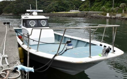 The boat suspected of being used to smuggle crystal meth in Japan's biggest ever drug bust. Photo: Kyodo