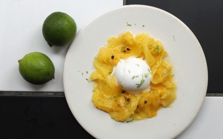 Pineapple carpaccio, passion fruit and coconut sorbet, a vegan dessert at the Bread Street Kitchen, The Peak. Chen Xiaomei/SCMP