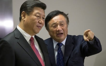 President Xi Jinping is shown around the London offices of Huawei Technologies by founder Ren Zhengfei. In China's power structure, more have a vested interest in keeping asset prices stable than in developing proprietary technologies. But the US trade war and ban on Huawei may have changed the dynamics somewhat. Photo: Reuters