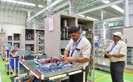 The assembly line of the Toshiba Mitsubishi-Electric Industrial Systems Corporation (TMEIC) in Tumakuru, some 100 kilometres from Bangalore on September 25, 2017. Photo: Agence France-Presse