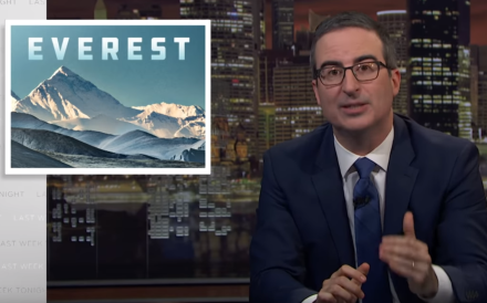 John Oliver discusses overcrowding on Everest in his show Last Week Tonight and ridicules Ben Fogle for grappling with the Sherpa client relationship. Photo: Last Week Tonight