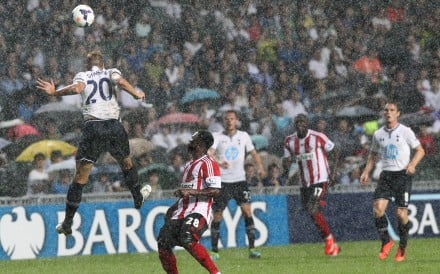 "Tottenham Hotspur and Sunderland clash on what was called a ""killer pitch"" at Hong Kong Stadium in 2013."
